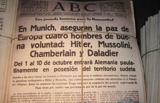 Aseguran la paz cuatro hombres de buena voluntat: Hitler, Mussolini, Chamberlain  y Daladier