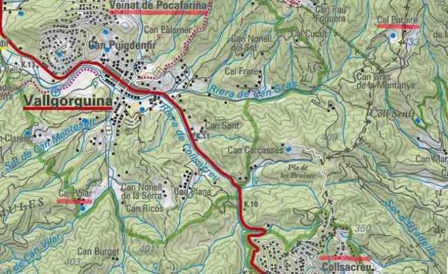 Plànol caminada Vallgorguina - Collsacreu - Vallgorguina