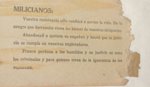"""Contrapropaganda franquista a l'Ebre. Extret de """"La Trinxera"""". Corbera"""