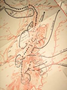 """Plànol de la batalla de la serra de Pàndols. Extret de """"La Trinxera"""". Corbera"""
