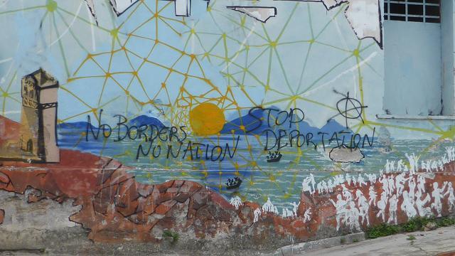 Port de Mitilene, Lesbos. Grafit refugiats