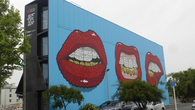 Mouth mural Christchurch. New Zealand