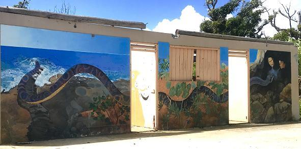Mural Escalier Tete Chien. Dominica